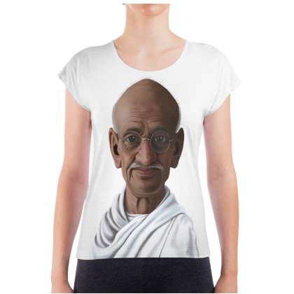 Mahatma Gandhi Celebrity Caricature Ladies T Shirt