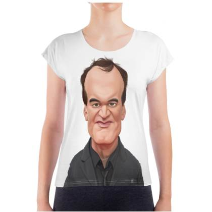 Quentin Tarantino Celebrity Caricature Ladies T Shirt