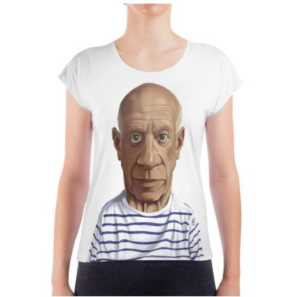 Pablo Picasso Celebrity Caricature Ladies T Shirt