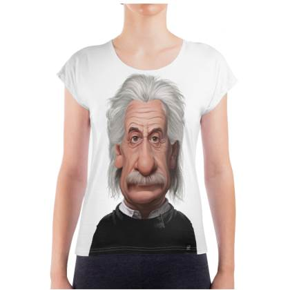 Albert Einstein Celebrity Caricature Ladies T Shirt