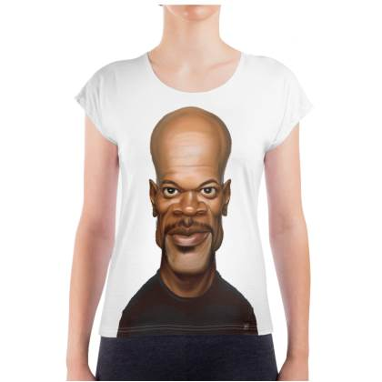 Samuel L Jackson Celebrity Caricature Ladies T Shirt