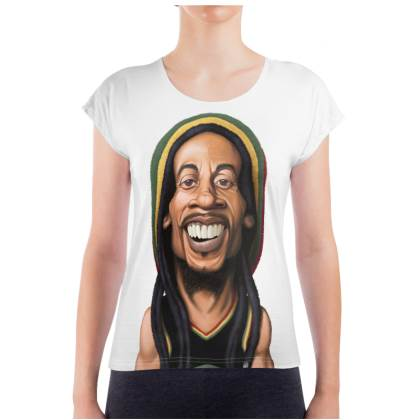 Bob Marley Celebrity Caricature Ladies T Shirt