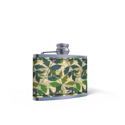 Leather Wrapped Hip Flask Buff and Sage