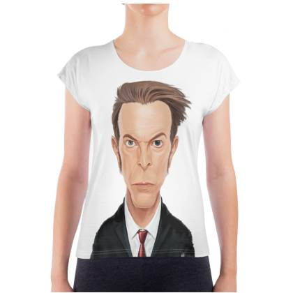 David Bowie Celebrity Caricature Ladies T Shirt