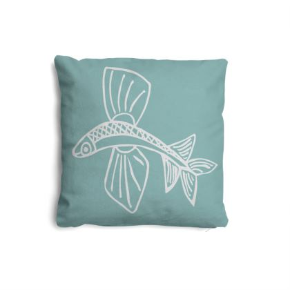 Small Cushion Naive Flying Fish White on Turquoise