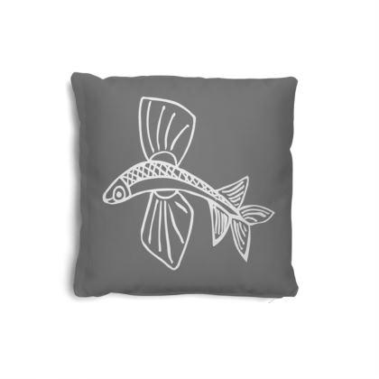 Small Naive Flying fish cushion white on grey