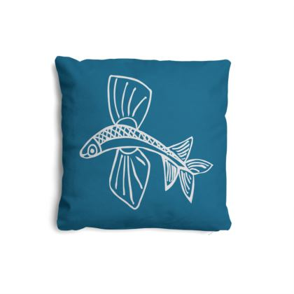 Small naive Flying Fish white on Teal