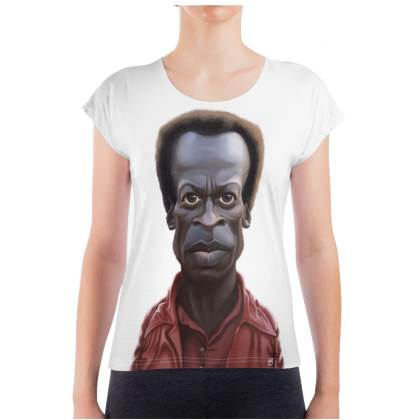 Miles Davis Celebrity Caricature Ladies T Shirt