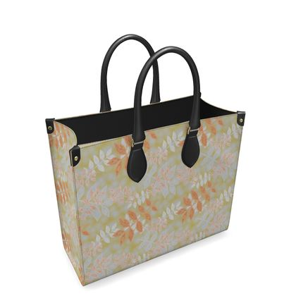 Leather Shopper Bag Etched Leaves  Leaves on Gold