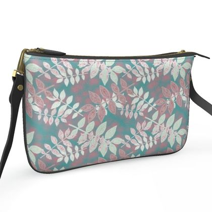 Pochette Double Zip Bag Etched Leaves  Teal Dream