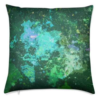 Luxury Cushions - Jade Nebula Galaxy Abstract