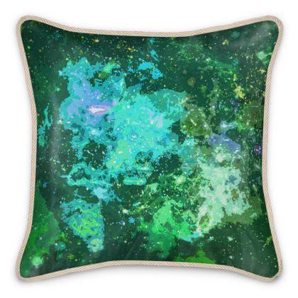 Silk Cushions - Jade Nebula Galaxy Abstract