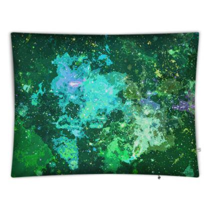 Floor Cushions - Jade Nebula Galaxy Abstract