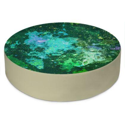 Round Floor Cushions - Jade Nebula Galaxy Abstract