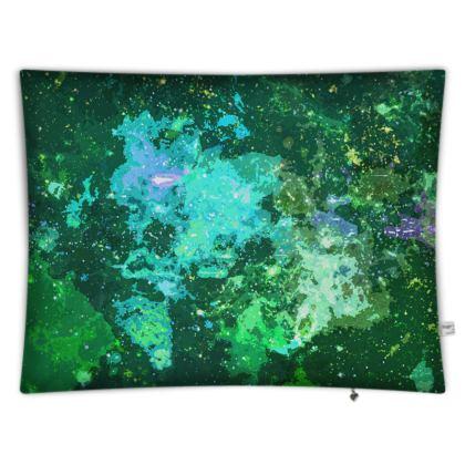 Floor Cushion Covers - Jade Nebula Galaxy Abstract