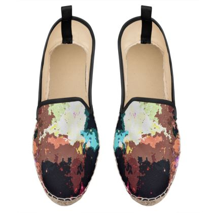 Loafer Espadrilles - Green Flame Creature Abstract