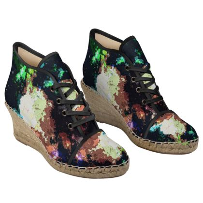 Ladies Wedge Espadrilles - Green Flame Creature Abstract