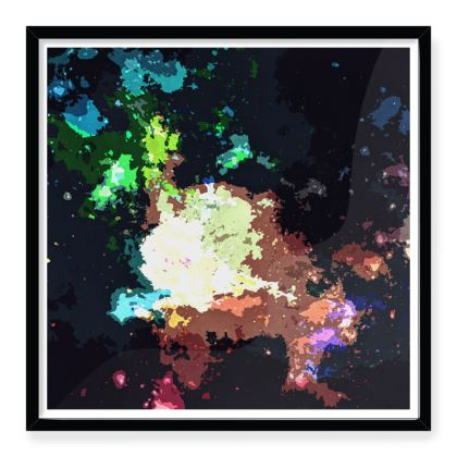Framed Art Prints - Green Flame Creature Abstract