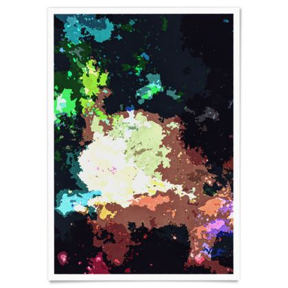 Paper Posters - Green Flame Creature Abstract