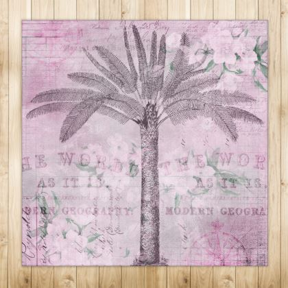 Vintage Travel Palm Tree Rug
