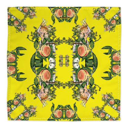 Yellow Silk Bandana - Peach Print