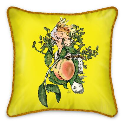 Double Sided Yellow Silk Cushion - Peach Motif