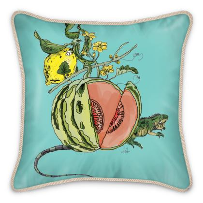 Double Sided Blue Silk Cushion - Melon Motif