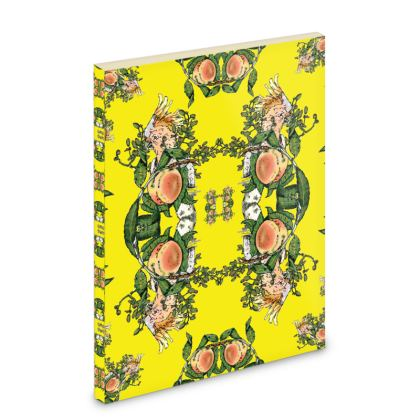 Yellow Pocket Note Book - Peach print