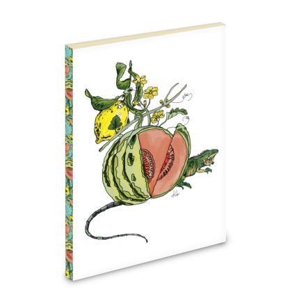 White Pocket Note Book - Melon Motif