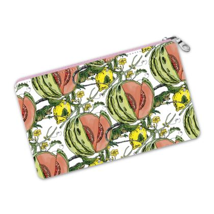 White Printed Pencil Case - Melon Print