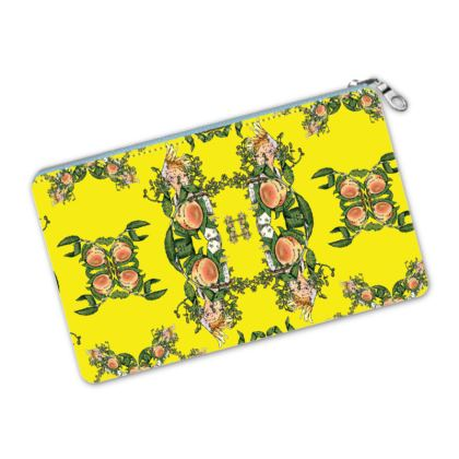 Yellow Pencil Case - Peach Print