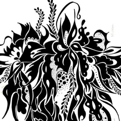 Coasters - Glasunderlägg - Ink summer feeling Black White