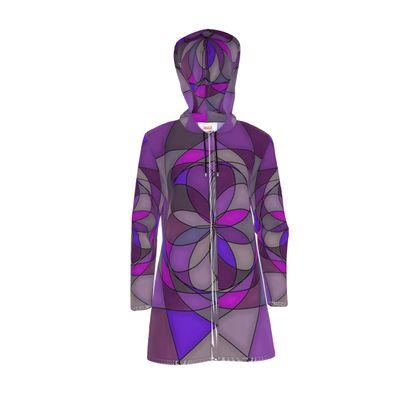 Womens Hooded Rain Mac - Purple spiral