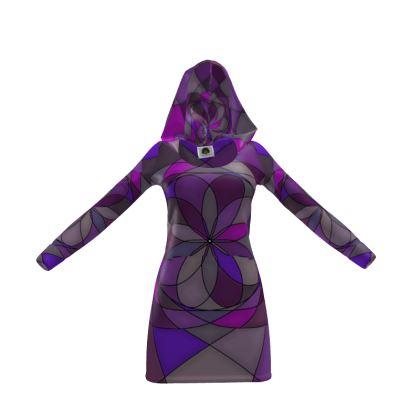 Hoody Dress - Purple spiral