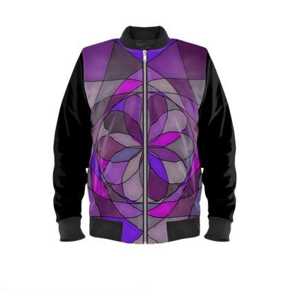 Mens Bomber Jacket - Purple spiral