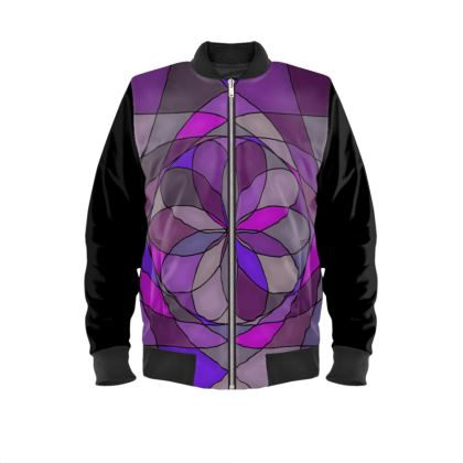 Ladies Bomber Jacket - Purple spiral