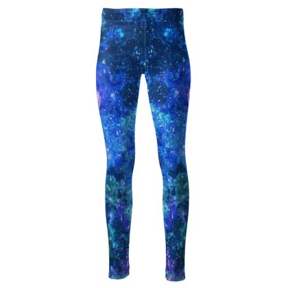 High Waisted Leggings - Blue Nebula Galaxy Abstract