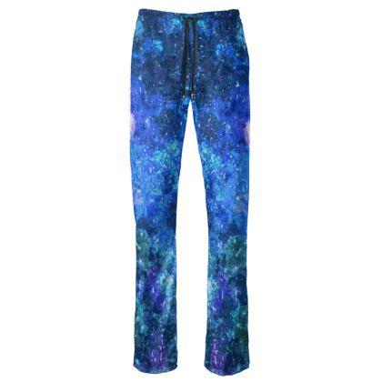 Womens Trousers - Blue Nebula Galaxy Abstract