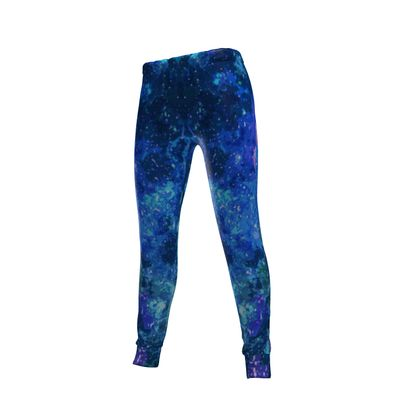 Womens Jogging Bottoms - Blue Nebula Galaxy Abstract