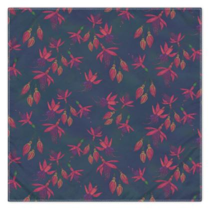 Fuchsia Flowers (Dark Blue) Scarf, Wrap or Shawl