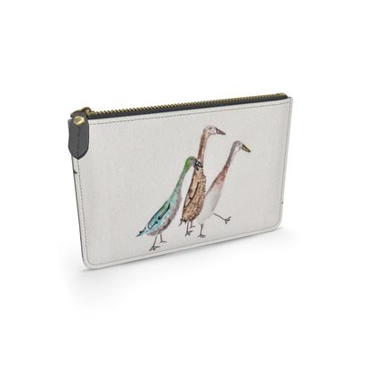 Indecisive Runner Duck Fethered Friends of the Countryside Leather Pouch
