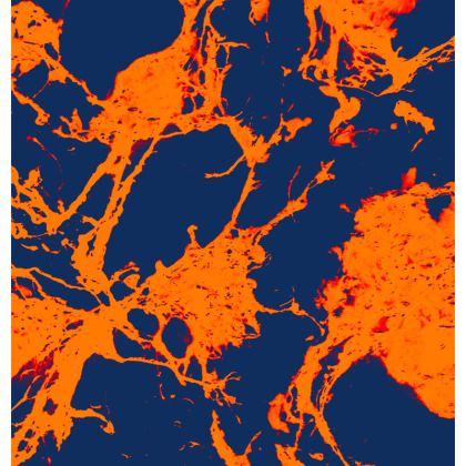 Microscopic Blue & Orange print cushion