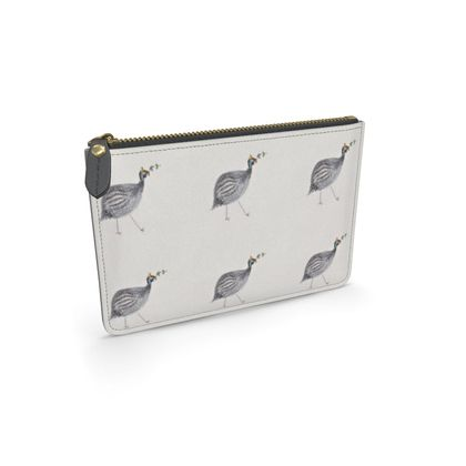 Guinea fowl a foraging feathered friends of the countryside leather pouch