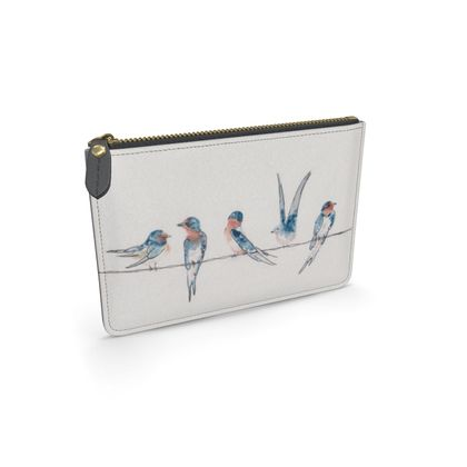 Southbound Swallows Feathered Friends of the countryside Leather Pouch