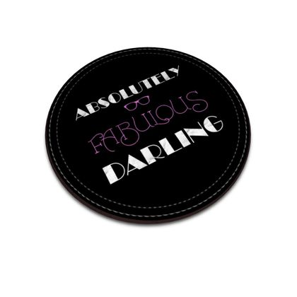 Leather Coasters - Absolutely Fabulous Darling - ABFAB (White text)