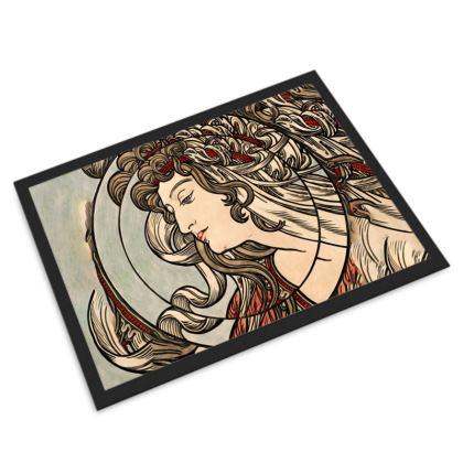Door Mat - Alphonse Maria Mucha Stained Glass #5