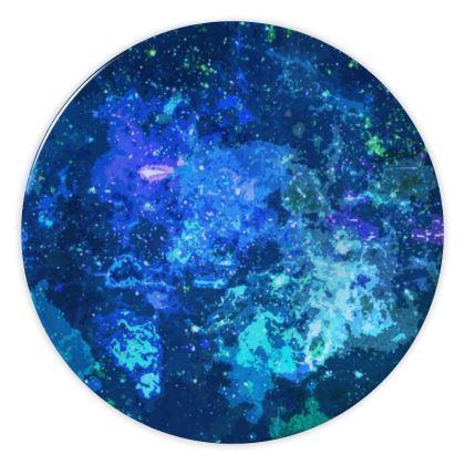 China Plates - Blue Nebula Galaxy Abstract