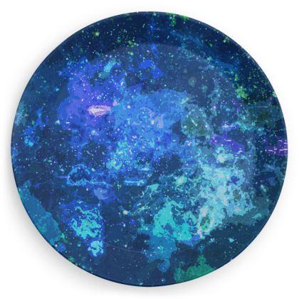 Party Plates - Blue Nebula Galaxy Abstract