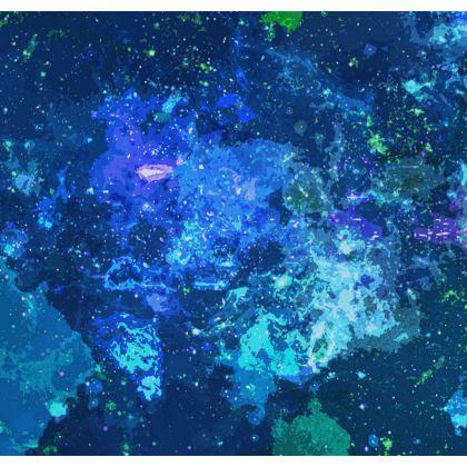 Serving Platter - Blue Nebula Galaxy Abstract