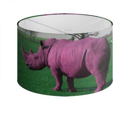 Drum Lamp Shade - Pink Rhino